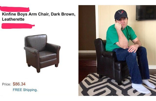 online shopping fail of an arm chair that is meant for children and not adults