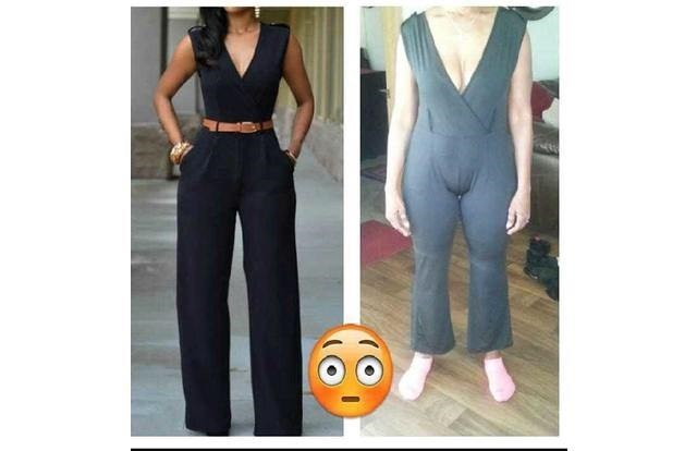 online shopping fail of a jumpsuit that looks like nothing from the website