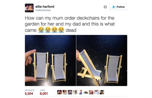 online shopping fail of deckchairs that are for playing and are tiny