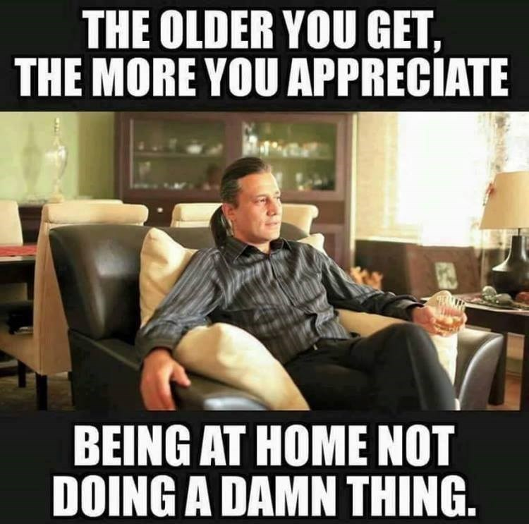 meme about wanting to do nothing as you get older
