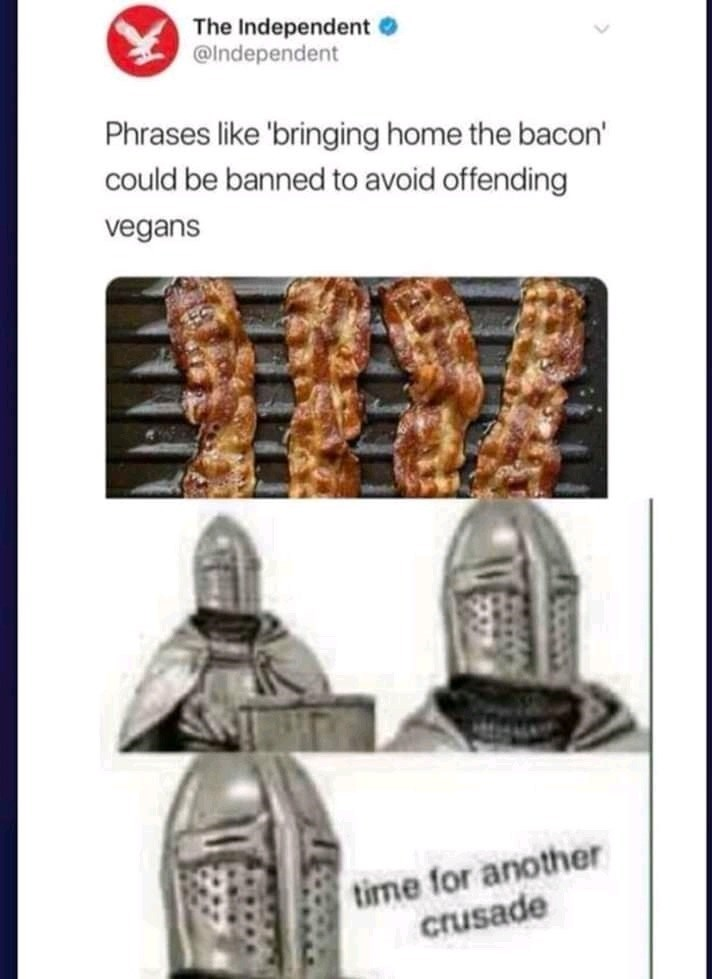 """meme about not wanting to stop using """"bringing home the bacon"""" just for vegans"""