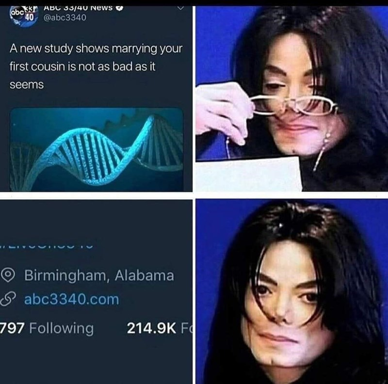 Michael Jackson meme about being able to marry your first cousin