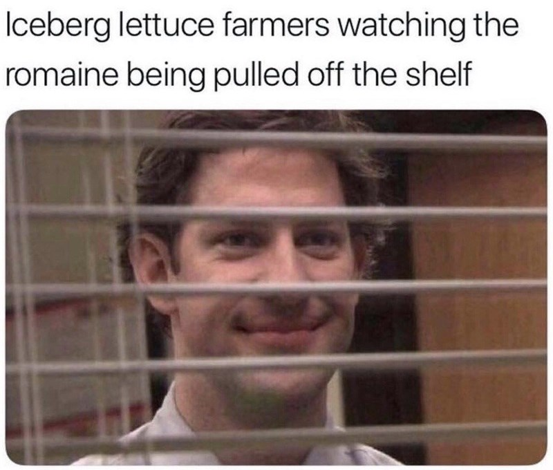 the office meme about farmers being happy about the removal of romaine lettuce