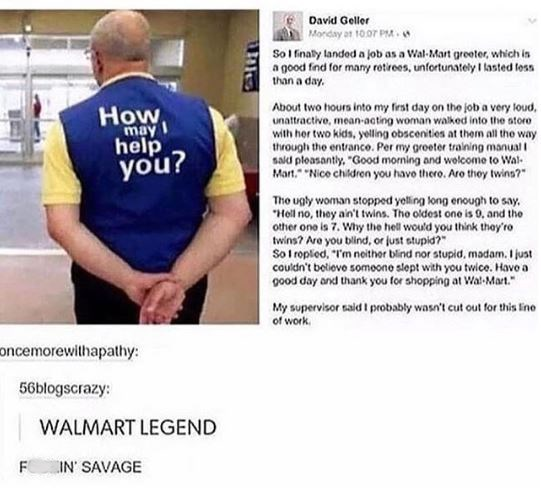 post about a savage response from a Walmart employee to customers who were rude