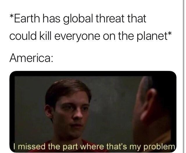 meme about America not caring about global warming with Peter Parker reaction picture
