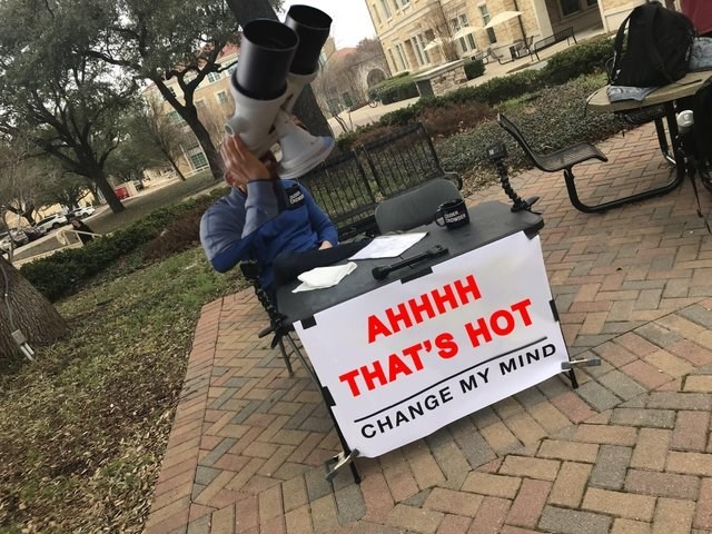 """""""change my mind"""" meme with Will Smith looking through binoculars"""