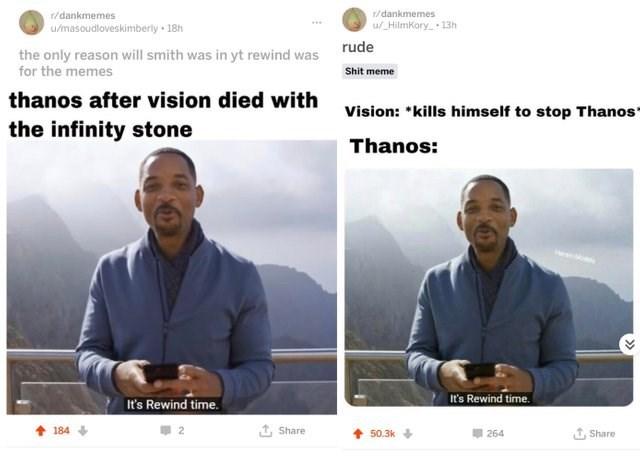 dank meme about Thanos rewinding time in Infinity War