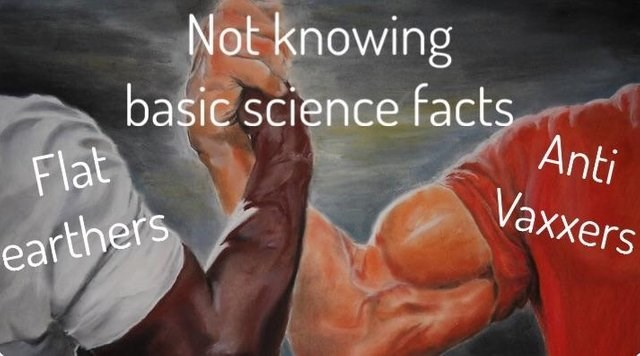 epic handshake dank meme about people who don't understand basic science