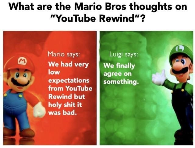 Youtube Rewind Meme about Mario and Luigi agreeing they both hated it