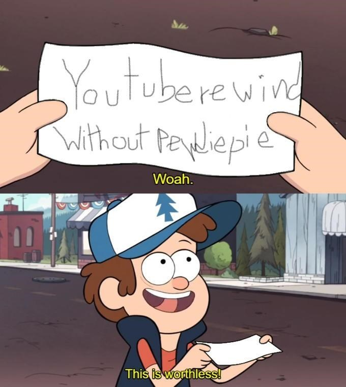 Youtube Rewind Meme about Pewdiepie missing making it invalid