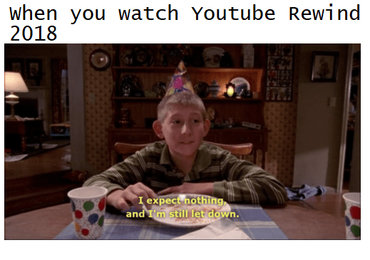 Youtube Rewind Meme about being disappointed despite having low expectations