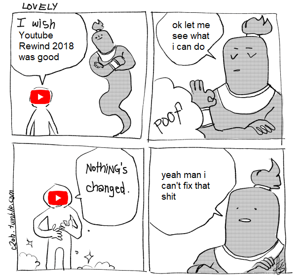 Youtube Rewind Meme about it being so bad even a wish from a genie can't save it