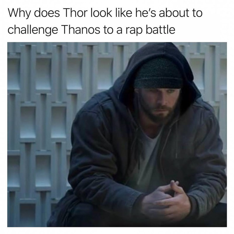 meme of thor looking like he is about to rap