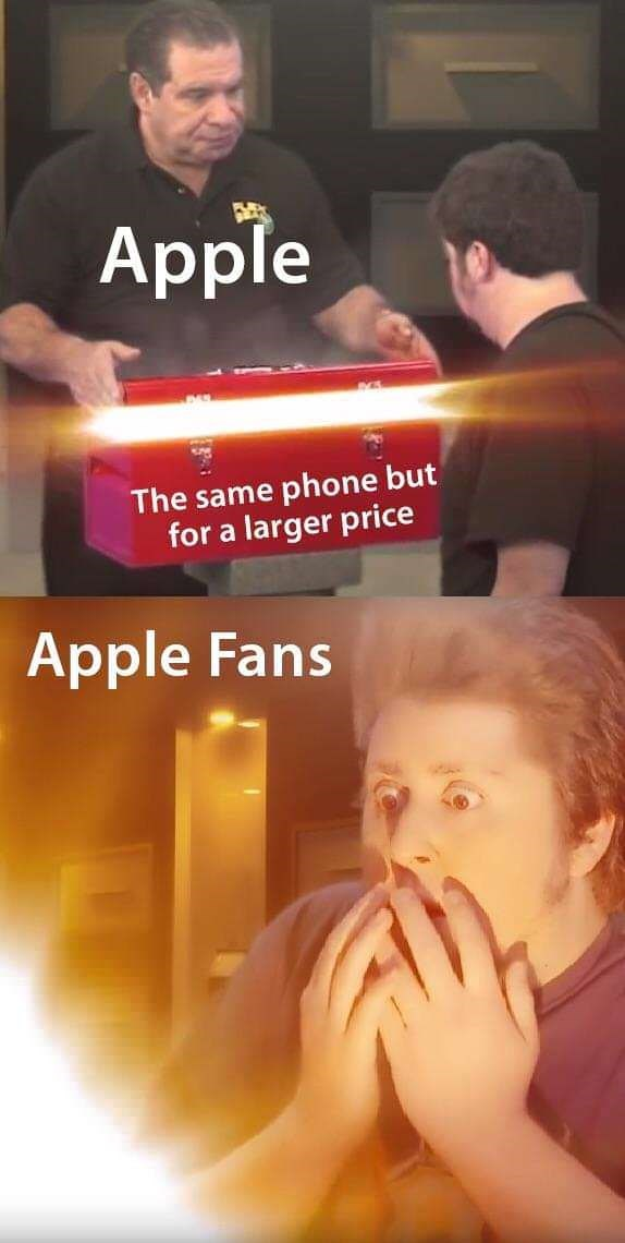 meme about iphones being the same model but just charging a higher price