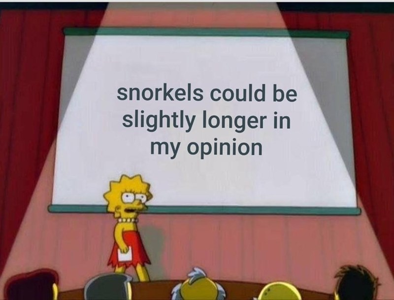 "Lisa Simpson presentation meme where the powerpoint reads, ""Snorkels could be slightly longer in my opinion"""