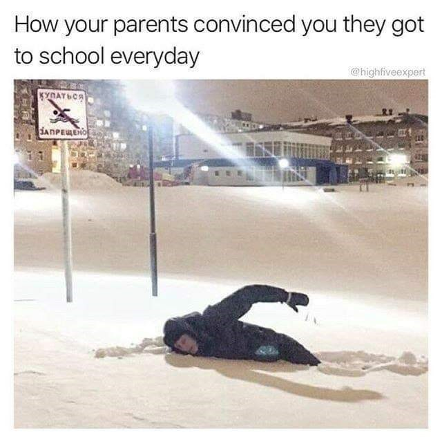 "Caption that reads, ""How your parents convinced you they got to school every day"" above a pic of a guy swimming in the snow in Russia"