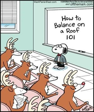 Cartoon - MarkParisi@aol.com 01Mar Par DisL by Universal UCic a-s offthemark.com How to Balance on a Roof HARRK