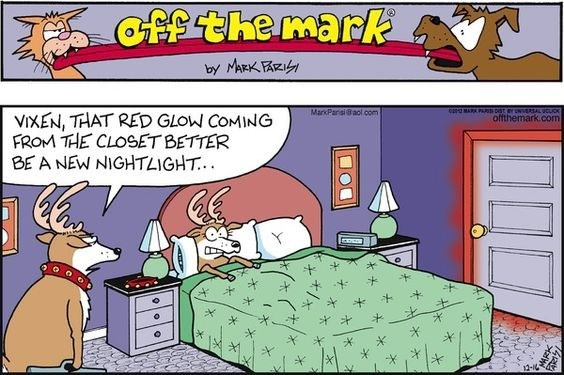 Cartoon - off the mark by MARKR MARK PAR DST Y NERSALUCUOK offthemark.com MarkParsi@aol oom VIXEN, THAT RED GLOW COMING FROM THE CLOSET BETTER BE A NEW NIGHTLIGHT. 12- 1424