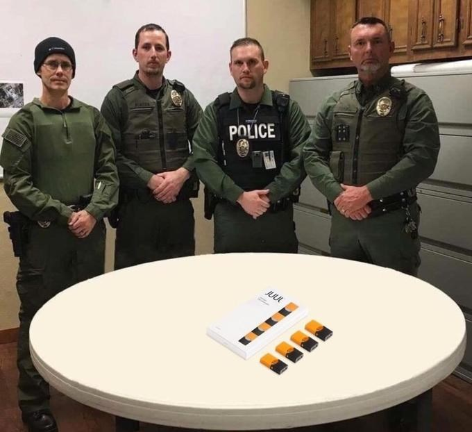 juul pods on a table from the police department roast