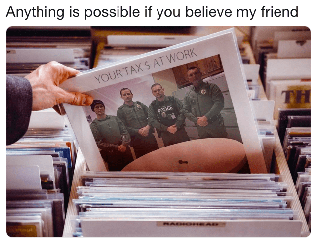 police department roast on a cover of a record
