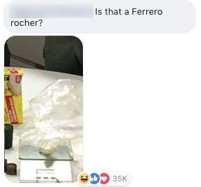 gram scale with Ferraro rocher on it from the drug bust