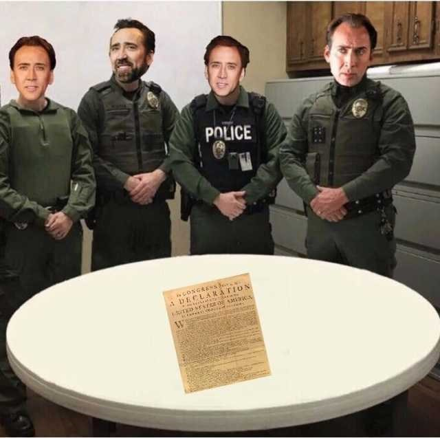 police department roast standing in front of the deceleration of independence from a drug bust