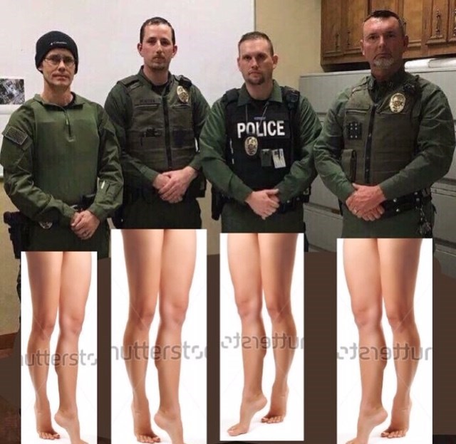 police department roast photoshopped with a pic of women's legs