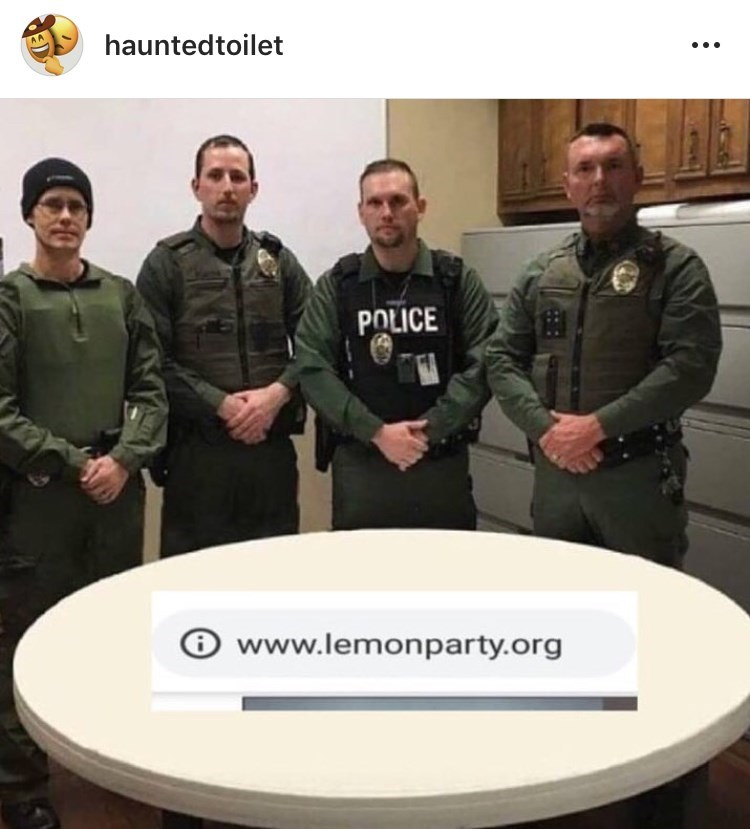 police department roast standing in a line next to a lemonparty link loading