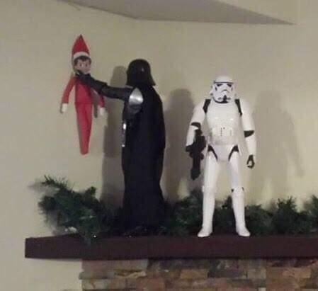 picture of Darth Vader choking and elf on the shelf