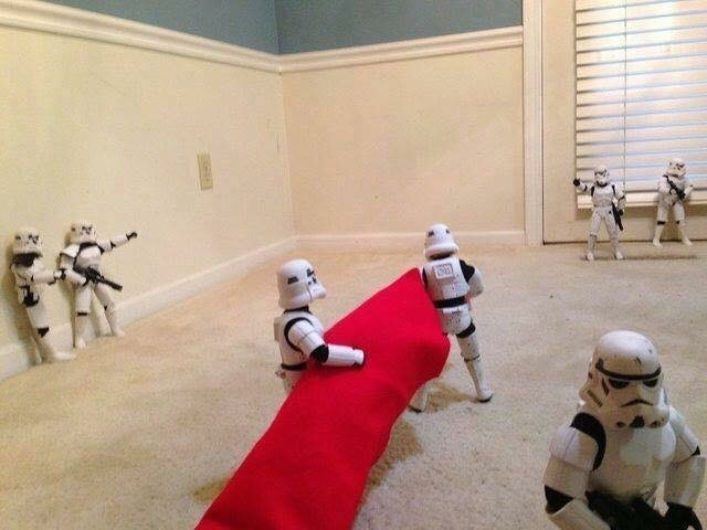 Pic of Stormtroopers hauling in a Christmas tree skirt