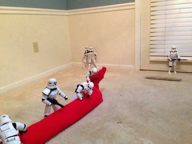 Another pic of Stormtroopers hauling in the Christmas tree skirt