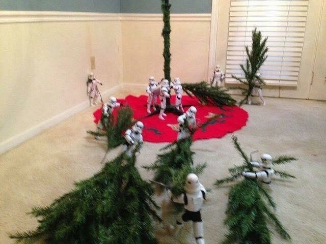 picture of Stormtroopers dragging Christmas tree branches
