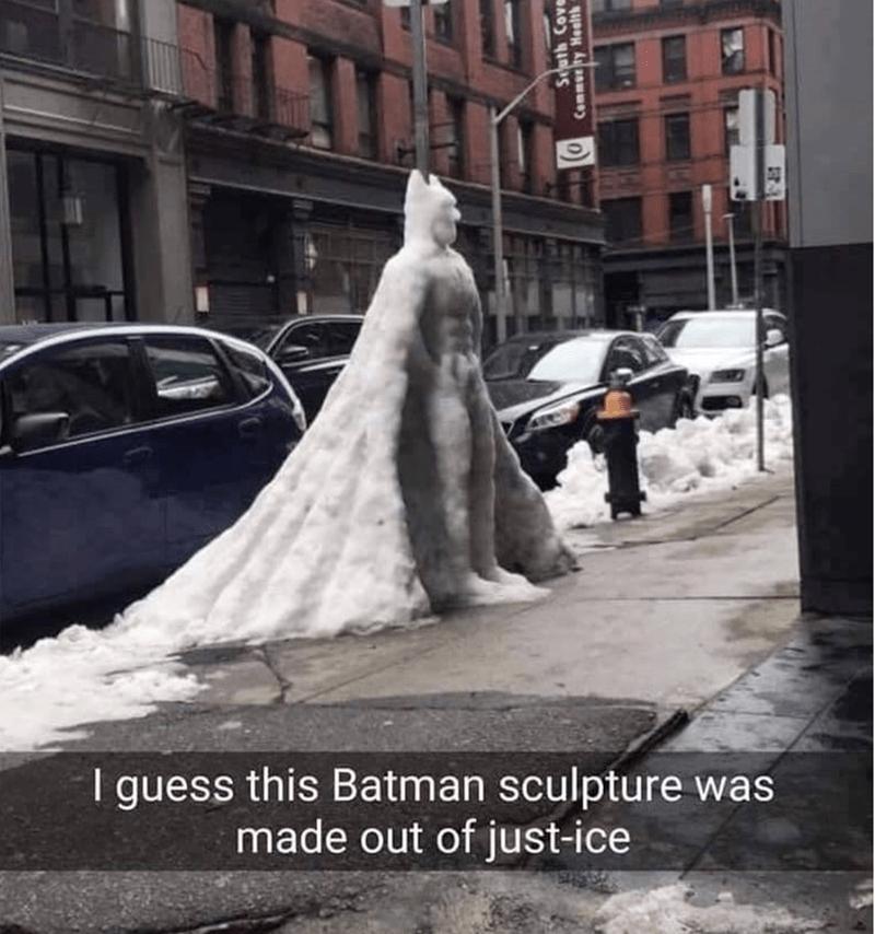 ice sculpture in the shape of batman