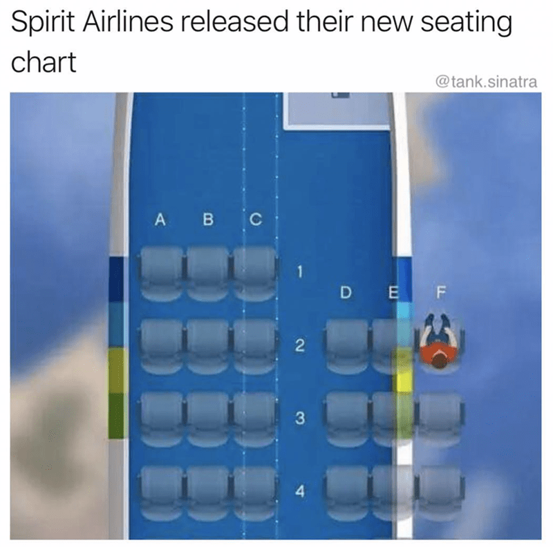 meme about how Spirit Airlines have the worst seating and bump people off their flights