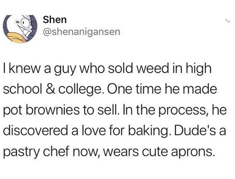 tweet about a drug dealer who became a pastry chef