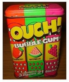 Snack - OUCH! BUBBLE GUM TRAWBERRY WATERMELON GRAPE 3 Flavors 21 Sticks