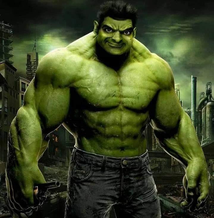 Mr. Bean photoshopped as Marvel's the Hulk