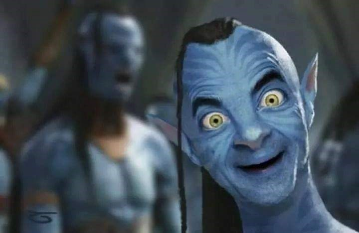 Mr. Bean photoshopped as a blue alien from Avatar