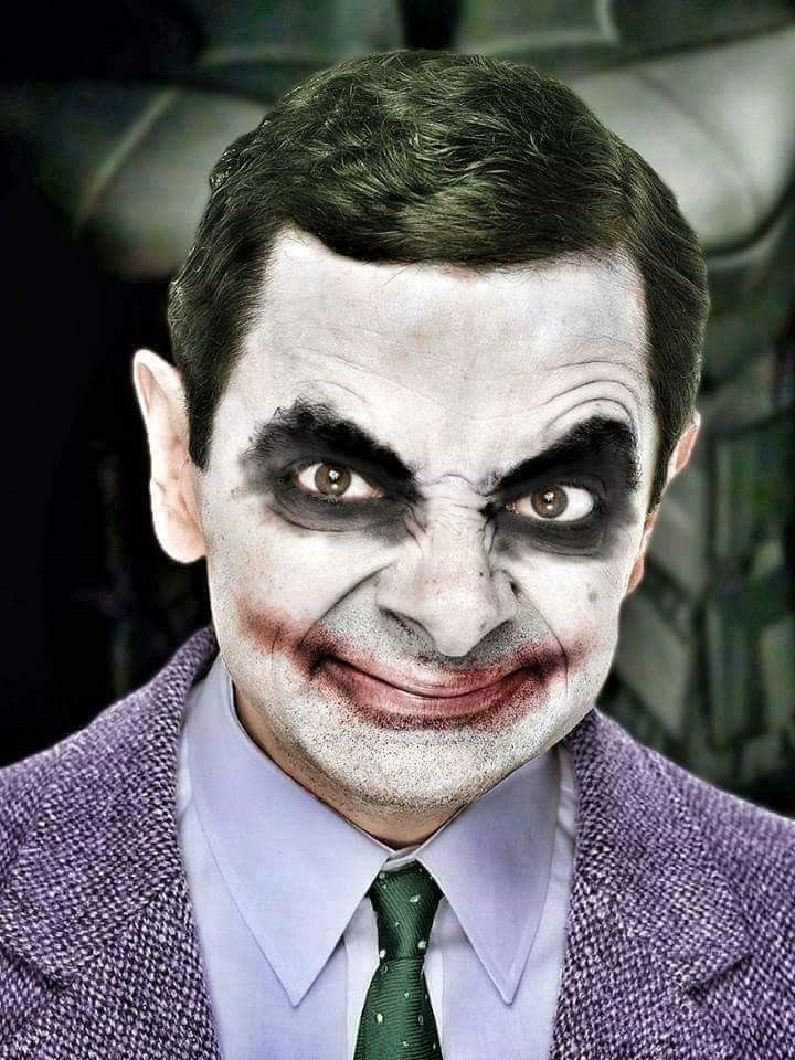 Mr. Bean photoshopped as the Joker