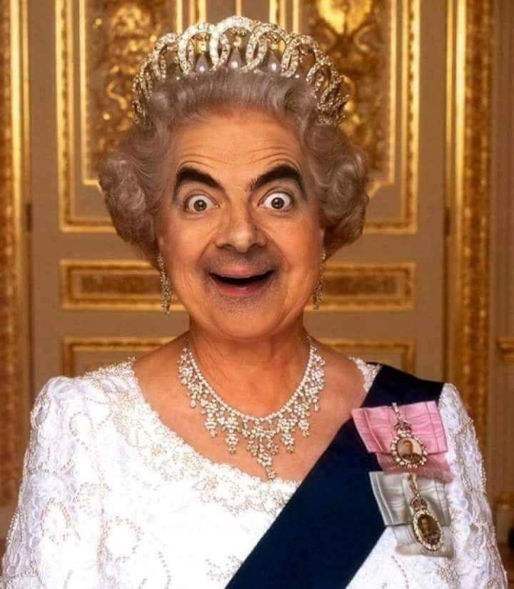 Mr. Bean photoshopped as the the Queen