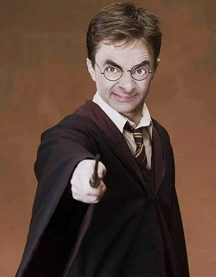 Mr. Bean photoshopped as Harry Potter