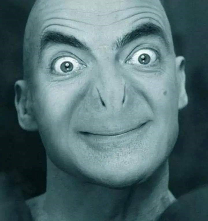 Mr. Bean photoshopped into Lord Voldemort's face