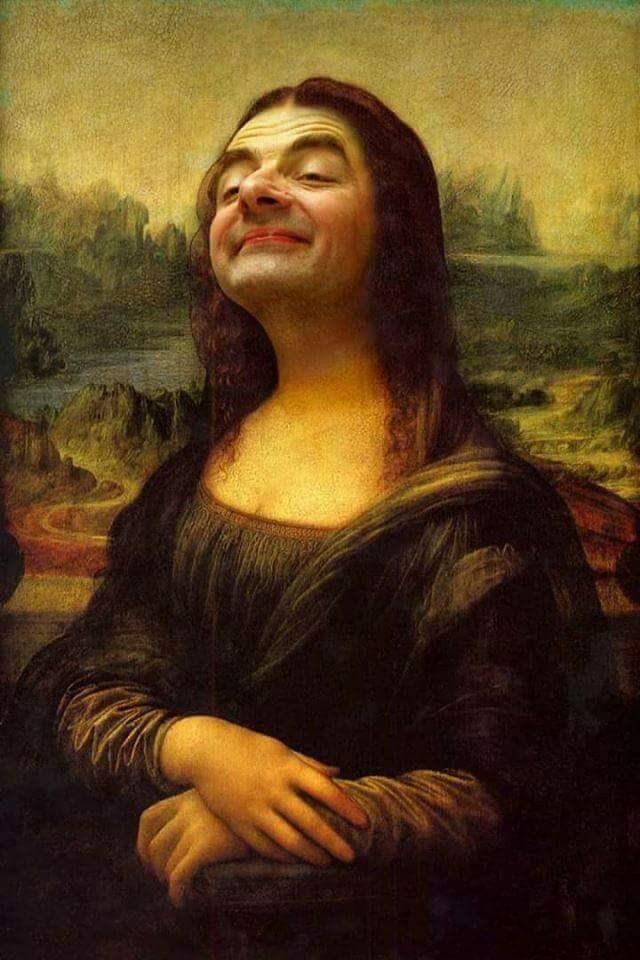 Mr. Bean photoshopped as the Mona Lisa