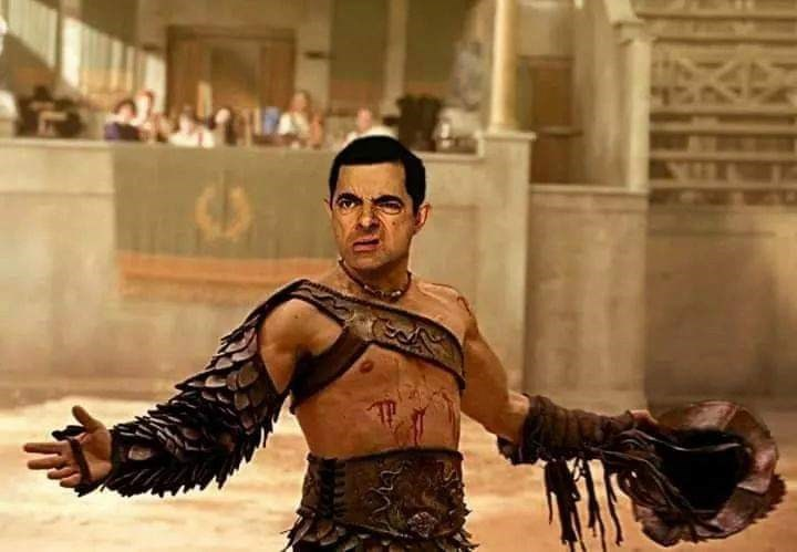 Mr. Bean photoshopped as a gladiator in ancient Rome
