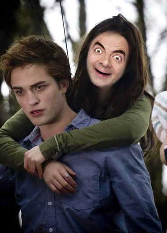 Mr. Bean photoshopped into Kristen Stewart's face in Twilight