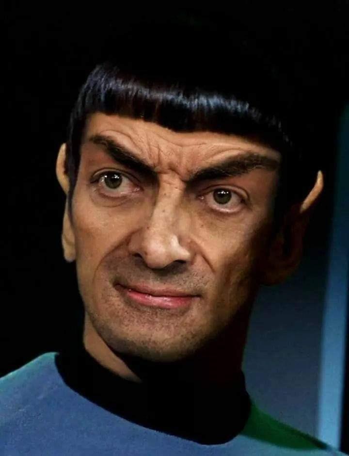 Mr. Bean photoshopped as Spock from Star Trek