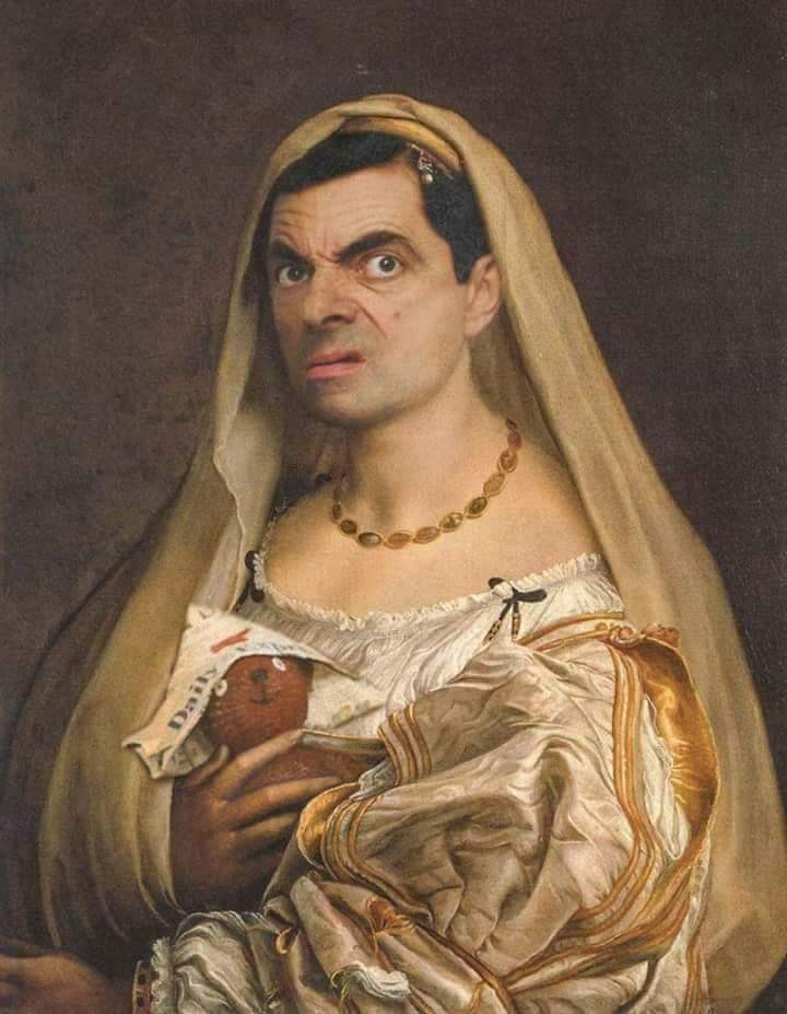 Mr. Bean photoshopped as woman in classical painting