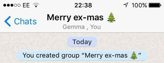 "Guy makes a group text with his exes titled ""Merry ex-mas"""
