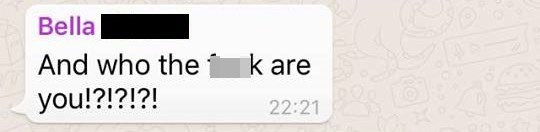 Text - Bella And who the k are you!?!?!?! 22:21