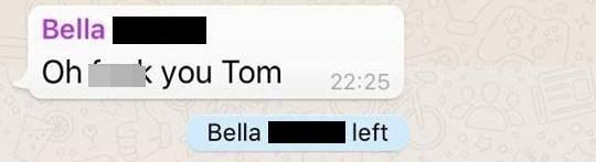 Text - Bella Oh you Tom 22:25 Bella left